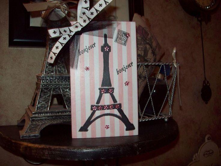 Paris chic decor pink stripes Bonjour Eiffel Tower block shelf sitter French     eBay