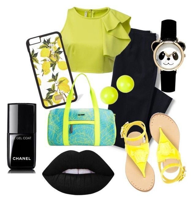 """Outfit primaveral color negro y amarillo"" by turbopeka on Polyvore featuring moda, Lands' End, Chicnova Fashion, Dolce&Gabbana, Steve Madden, Alexis Bittar, Versace, Lime Crime y Chanel"