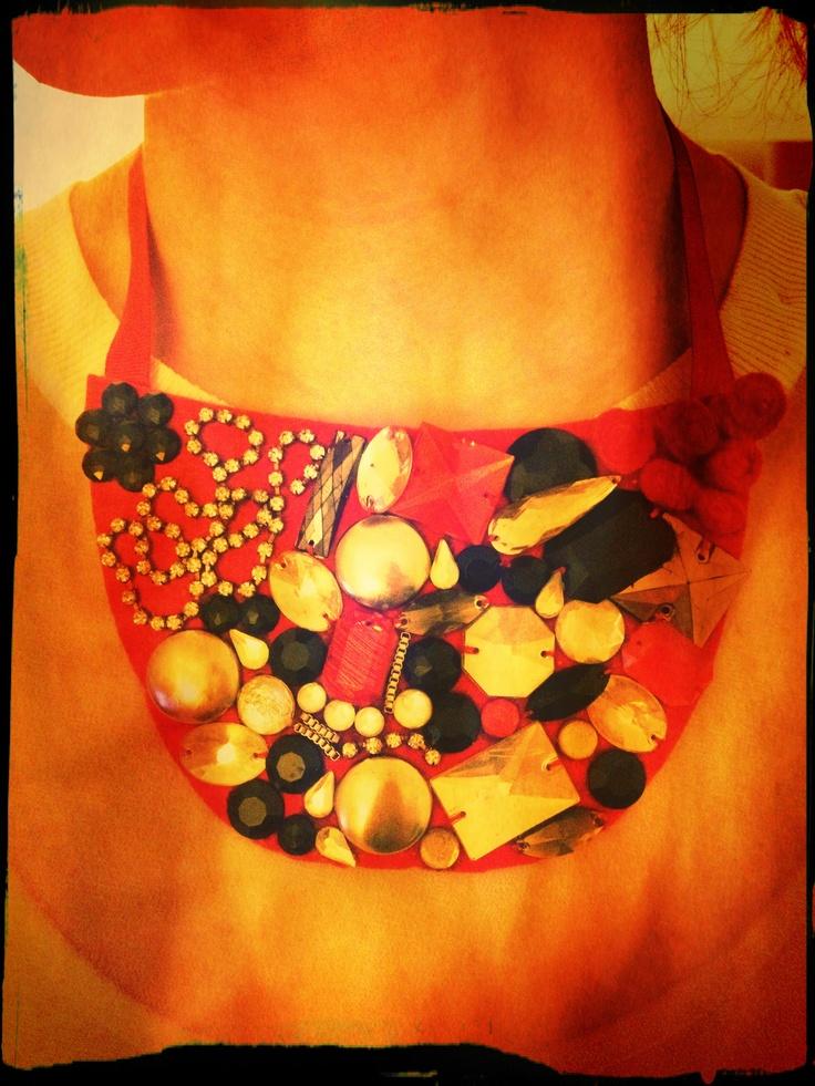 #red #collar #necklace #embellished