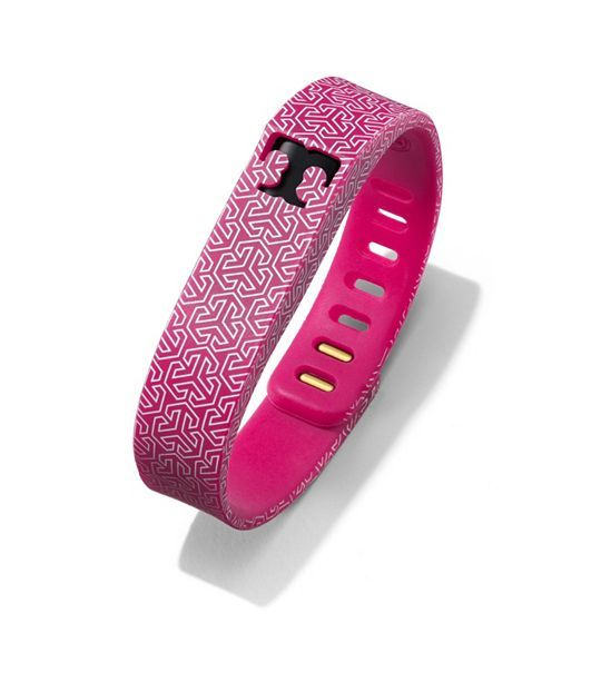 Tory Burch for Fitbit Silicone Printed Bracelet - FUCHSIA MULTI/SHINY BRASS-tracking device separate