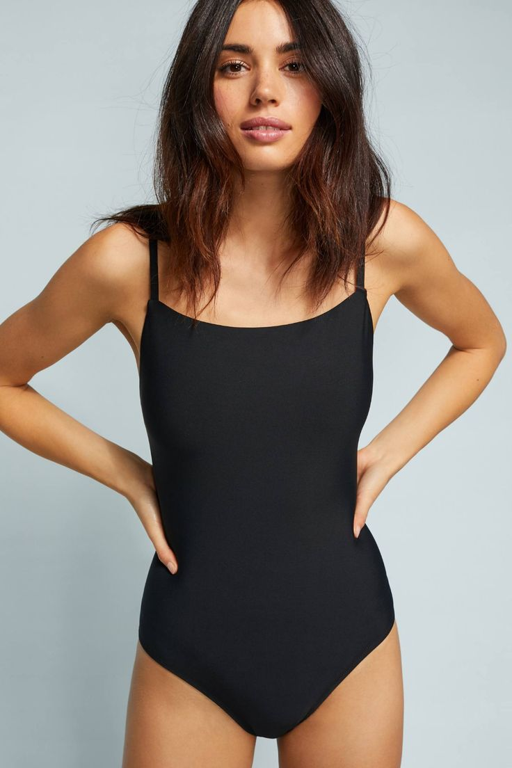 Anthropologie Square-Neck One-Piece Swimsuit by in Orange Size: S, Women's Swimwear