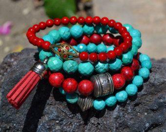 Set of 4 Beaded Sandalwood Stretch Bracelets by uniquebeadingbyme