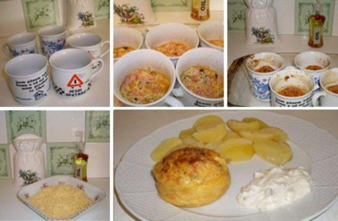 Sýr se šunkou a vajíčkem, zapečený v troubě