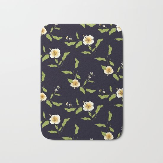 Yellow Tropical Flowers #society6 #decor #buyart Bath Mat