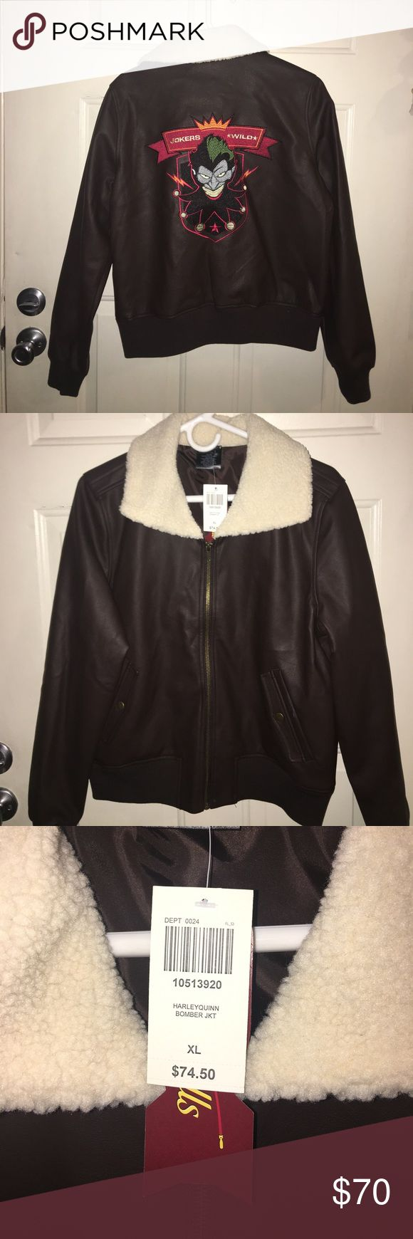 Authentic D.C. Bombshells Jokers Wild Jacket Authentic Hot Topic D.C. Bombshells Jokers Wild Pleather Bomber Jacket. NWT, size XL, comes from a smoke free home. No trades or low ball offers please. Hot Topic Jackets & Coats