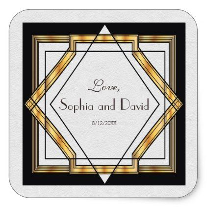 Great Gatsby Gold White Art Deco Wedding Square Sticker - gold wedding gifts customize marriage diy unique golden