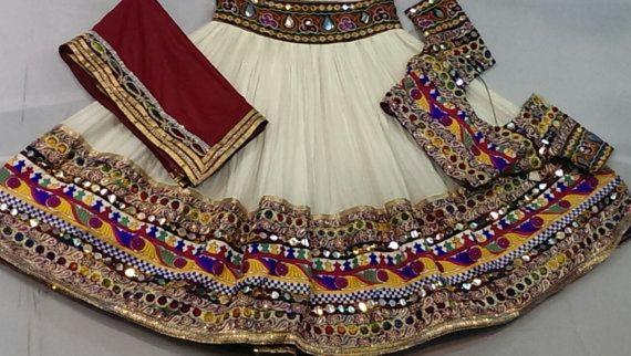 Navratri chaniya choli Designer Indian White and by mfussion, deepika padukone style