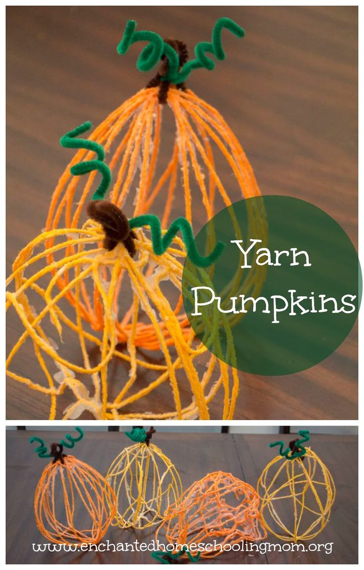 Yarn Pumpkins - Enchanted Homeschooling Mom - Enchanted Homeschooling Mom. Nice to find kid crafts I can keep up/out till Thanksgiving too. :)