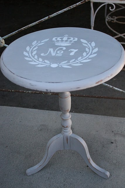 refurbished side table using chalk paint and paint pen