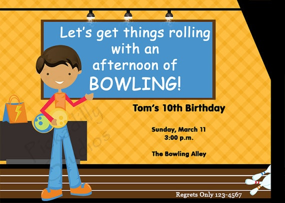 Best Bowling Invitation Images On   Birthday Party