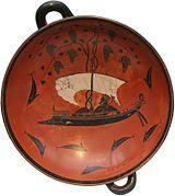 027 - Exéquias: Dionísio em seu barco, c. 530 a.C., figura negra, Coleções Estatais de Antiguidades, Munique