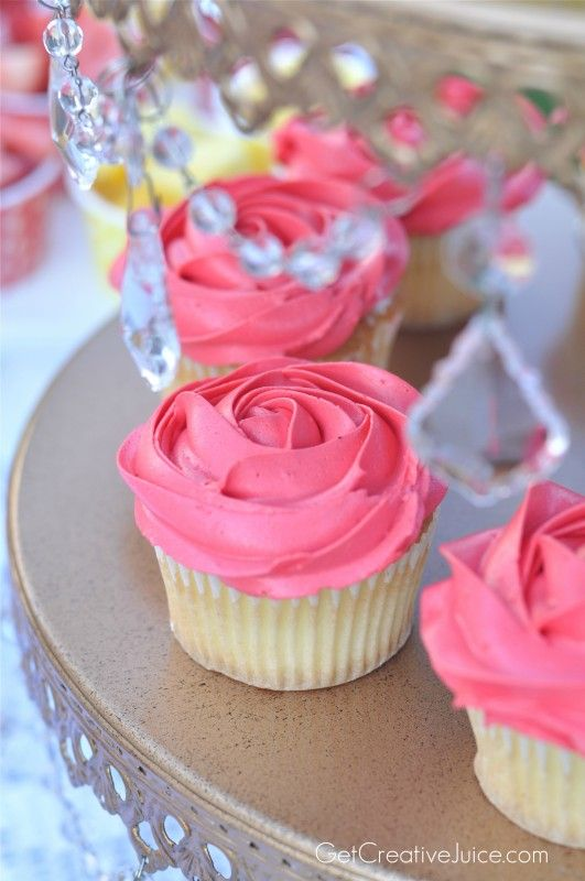 Rose Cupcakes for a Belle Princess Party