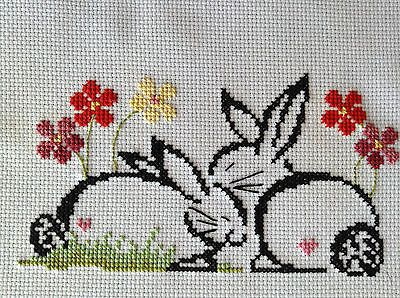 completed cross stitch Brittercuo Designs cute Easter Bunnies