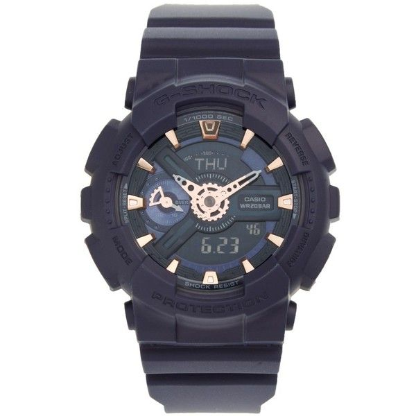 Women's G-Shock 'Ana-Digi' Resin Watch, 49Mm (405 BRL) ❤ liked on Polyvore featuring jewelry, watches, navy blue, digital and analog watches, navy jewelry, oversized digital watches, navy blue watches and resin jewelry