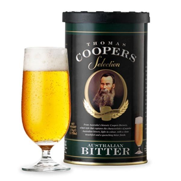 Coopers Australian Bitter Concentrate  A beer style that captures the characteristics of popular Australian bitters, light in color, clean mouth feel with a quenching bitter finish.   Recommended to be brewed with 1.5kg Coopers Light Malt Extract .
