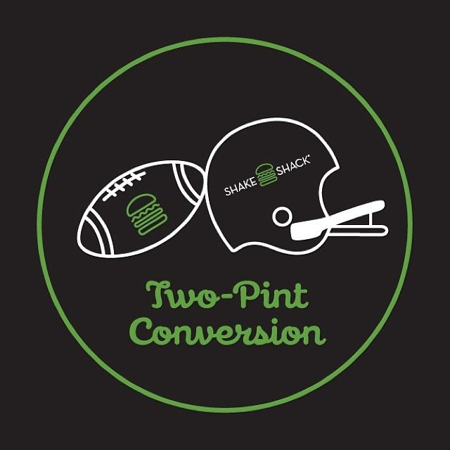 """Are you ready for some football?! Our """"Two-Pint Conversion"""" runs today through Sunday at all Shacks (except JFK). Buy a pint of frozen custard and get a FREE second pint plus a collectible mini Shack football, while supplies last. Score! #shakeshack #superbowl #seahawks #decadeofshack"""