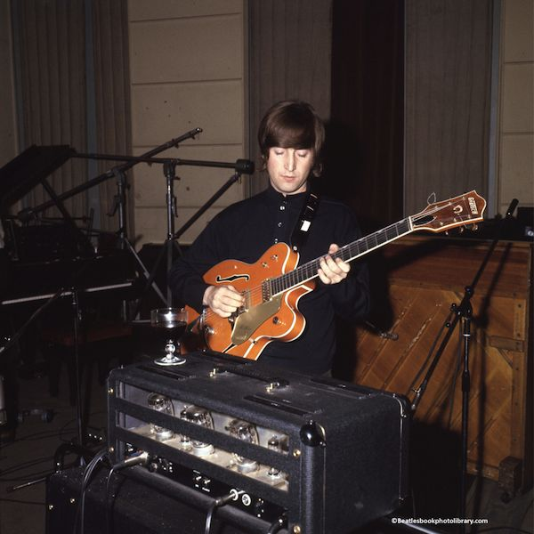 john with the gretsch guitar he played on paperback writer, 1966 kitten on the keys : Photo