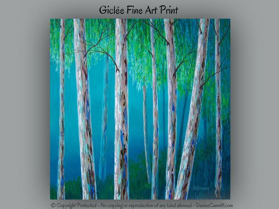 Wall Art Trees Green : Birch tree art print teal turquoise blue and green