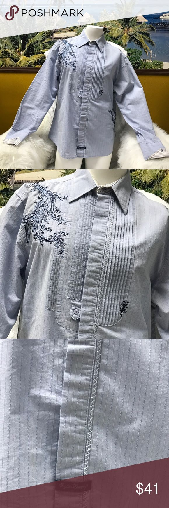 """English Laundry Men Embroidered Dress Shirt Embroidered/textured. Long sleeve, button front. 21"""" shoulder to shoulder, 24"""" armpit to armpit, 25"""" length. English Laundry Shirts Dress Shirts"""