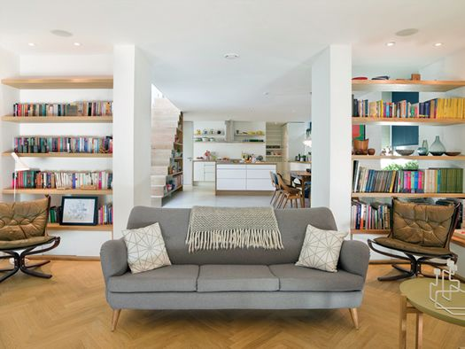 Shelves + under stair storage [Kathryn Tyler living room photo by Andrew Meredith].