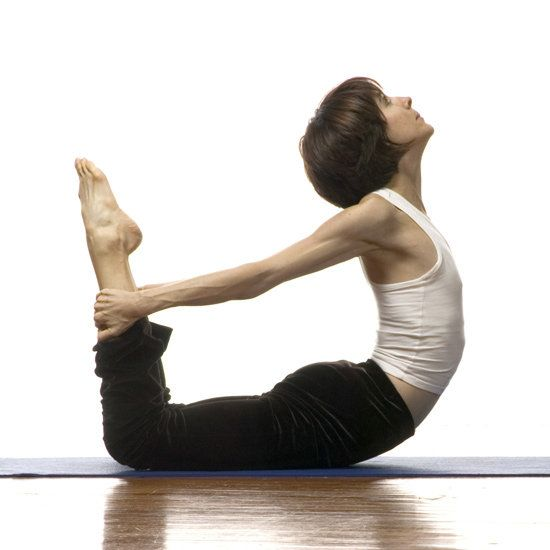 Bow Bow pose increases flexibility in your spine, and offers a great stretch for tight shoulders. While lying on your belly, bend both knees, reach your arms behind you and hold onto your ankles. Use your leg muscles to press your feet back and give height to your torso. Stay like this for five breaths and then release.