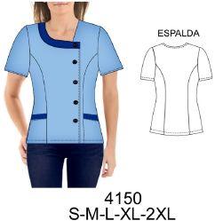 4150 Delantal cruzado, corte princesa. Telas: Gabardina, poplin, linet. Consumo talla L: Azul: 1.60 mts. Blanco: 25 cms. Aprox.