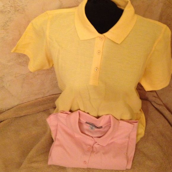 Ladies polo shirts👚 One yellow one pink ladies polo 60% cotton 40% poly NWOT Port Authority Tops