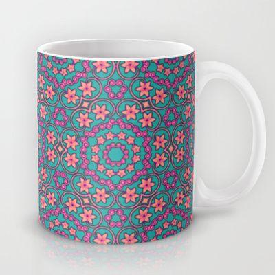 Retro Flower Pattern Mug by Sara PixelPixie - $15.00