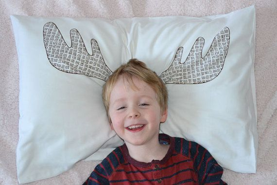 Moose antlers screen printed pillowcase by Erinnies on Etsy