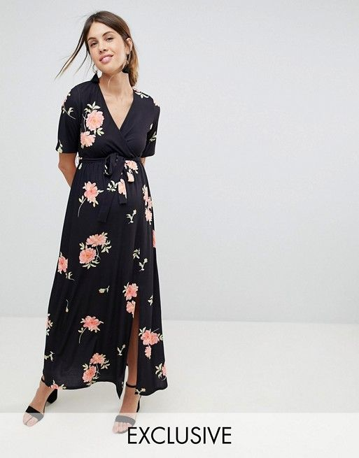 2664f7b77351b MATERNITY NURSING Wrap Maxi Dress In Floral Print | things i want to buy | Asos  maternity, Maxi wrap dress, Maternity nursing