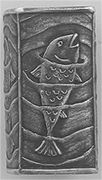"""Anne Choi: handmade beads and silver jewelry    Singing Fish     - This friendly fish, singing the mermaids song, was inspired by the line """"Teach me to hear mermaids singing"""" from a John Donne poem.     1"""" tall x 1/2"""" square     46.00"""