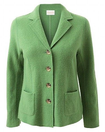 Classic Boiled Wool Blazer Add structure to your look with this wool blazer, it's perfect for wearing on cooler evenings. It features a v neck collar and two functioning pockets at the front. Wear with jeans and a printed bright top for a modern look.