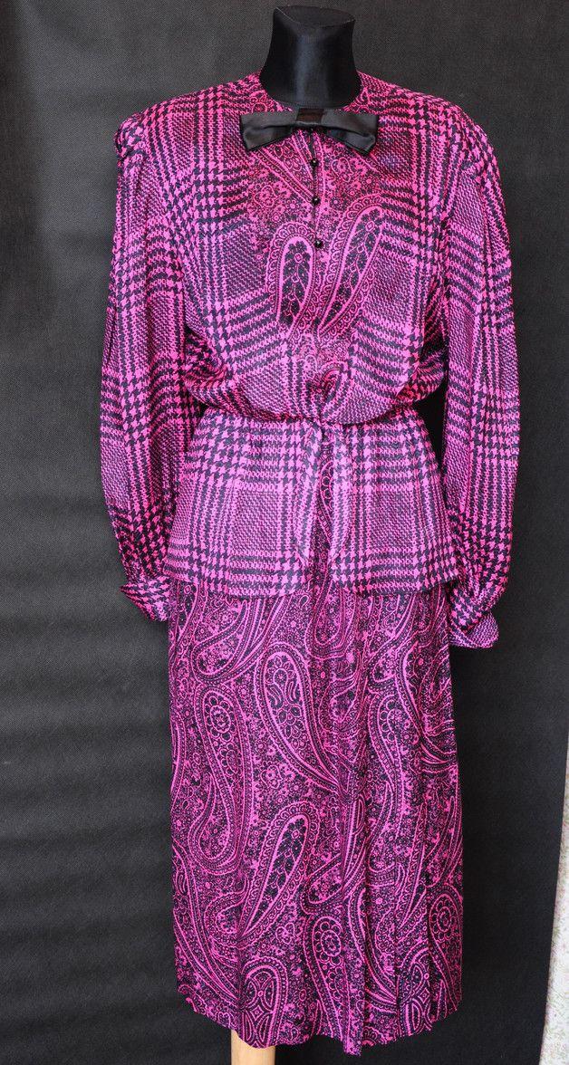 Różowo czarna jedwabna sukienka baskinka lata 70te - MissVintage_pl - Sukienki mini