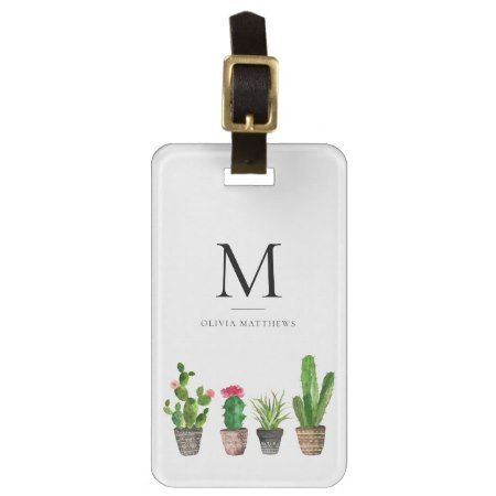 Watercolor Potted Succulents Monogram Luggage Tag - tap, personalize, buy right now!  #plants #succulent #succulents #botanical #illustrations #illustration #gift #gifts #giftideas #giftforher #modern #romantic #minimal #minimalism #monogram #monogrammed #initials