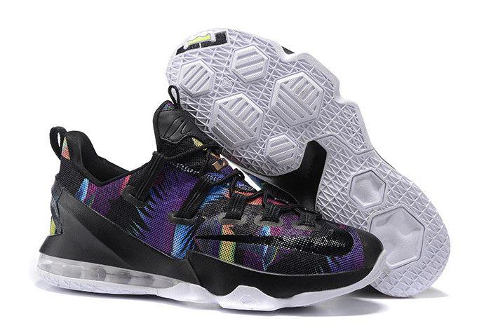 """best sneakers 55512 bd1cf Nike LeBron 13 Low """"Floral"""" Black/Cosmic Purple-White 831925 ..."""