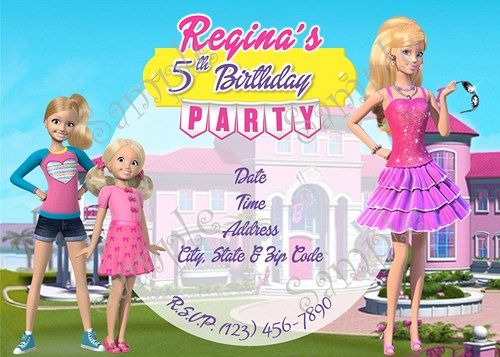 Barbie in the dream house party, Barbie in the dream house party invitation, Barbie in the dream house birthday party invitation, Barbie in the dream house invitation, Barbie invitation