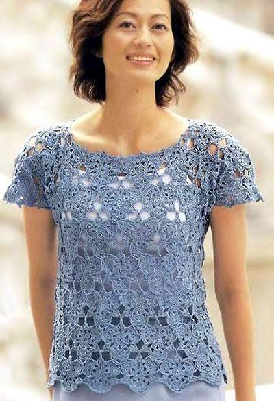 Blue openwork crochet Top. Diagrams at source
