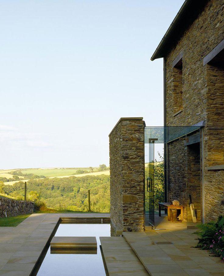 Rowden House, Devon, McLean Quinlan, porch and weir