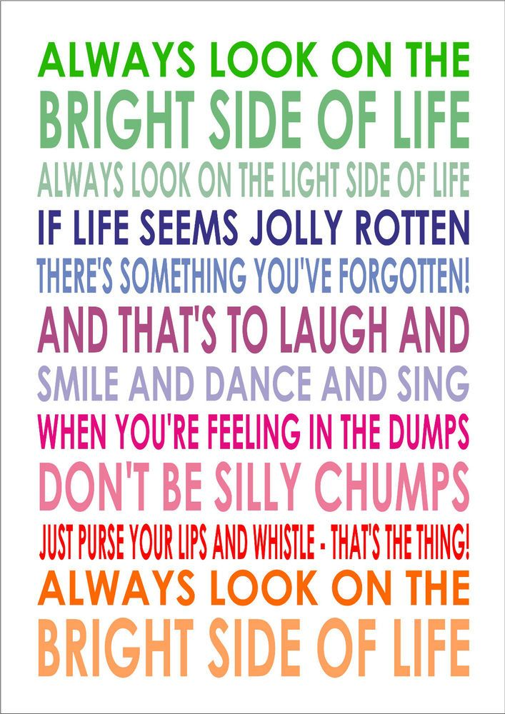 Always Look On The Bright Side Of Life Monty Python Life Of Brian Word Wall Art