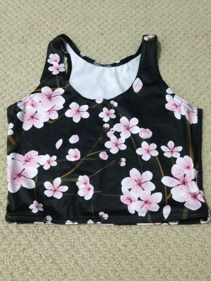 Sample black cherry blossom crop top - Black Milk Clothing