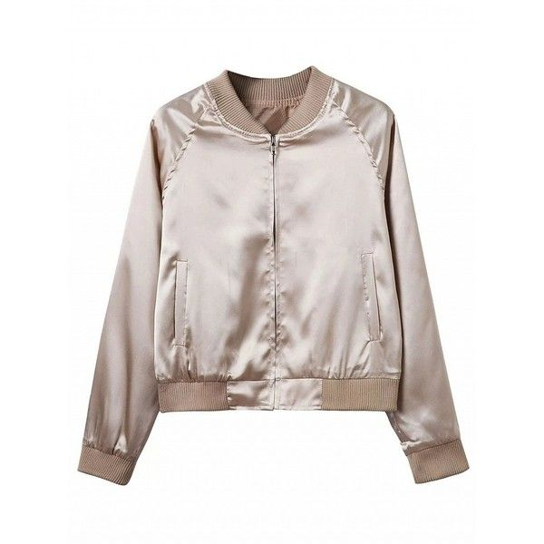 Choies Khaki Zip Up Satin Bomber Jacket ($25) ❤ liked on Polyvore featuring outerwear, jackets, tops, khaki, zip up jackets, satin bomber jacket, blouson jacket, pink zip up jacket and flight jacket