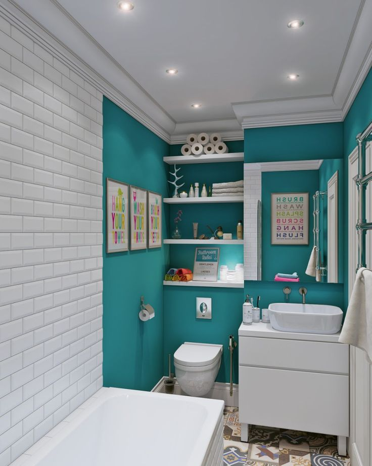 White subway tile, turquoise walls. Love the modern white vanity.