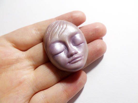 Lavender Cabochon Purple Face Cabochon Doll Face Cabochon
