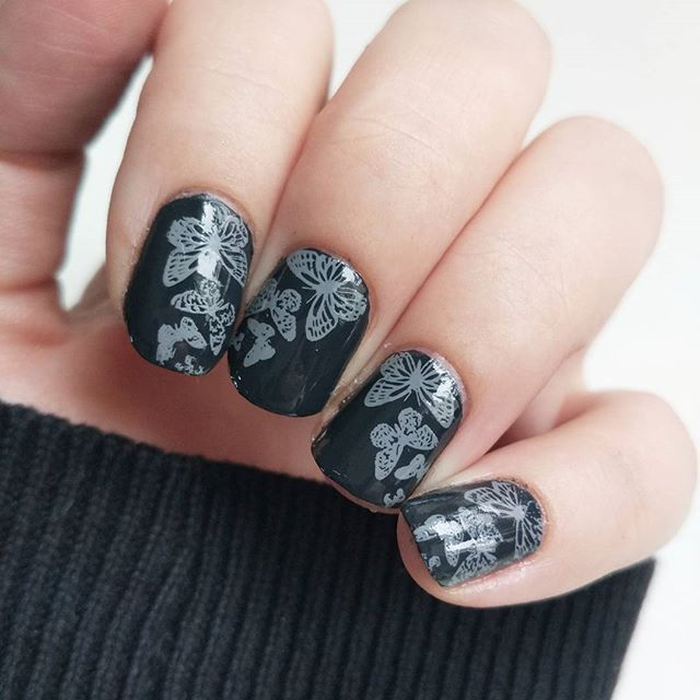 """I wonder if anyone else thinks """"yes, I can do it in grey and grey!"""" when they see the prompt for #clairestelle8march is butterflies, or is it just me? Will be up in the blog later, and excuse my odd nail lengths - I'm growing them out a bit before shaping. . . . . . . #kynsikoristelut #nailart #instanails #nailsoftheday #notd #nailsofinstagram #nailsofig #nails2inspire #greynails #nailsonpoint #nailsonfleek #nailstamping #stampingnailart #butterflynails #shortnails #nailblogger #nails…"""