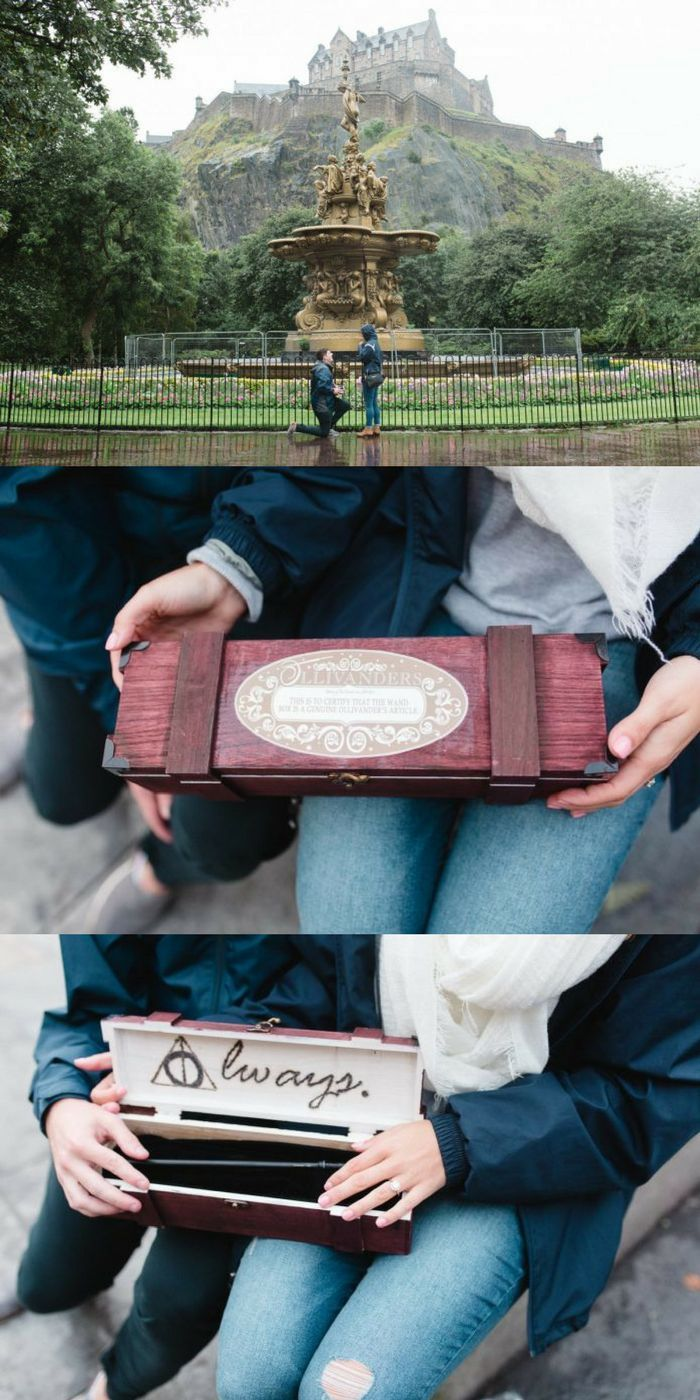 This Harry Potter proposal is magical! He took her to Edinburgh Castle, the inspiration for Hogwarts, and he gave her a custom wand from Ollivander's!