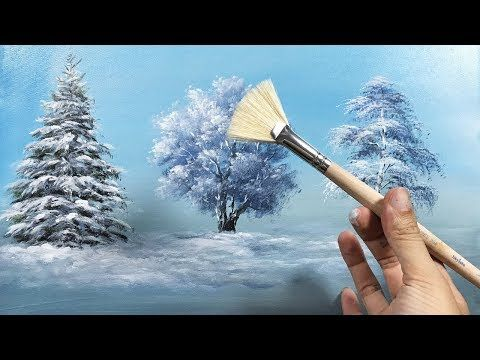 How to Draw a Beautiful Winter Tree with Fan Brush – Lesson 17 – YouTube