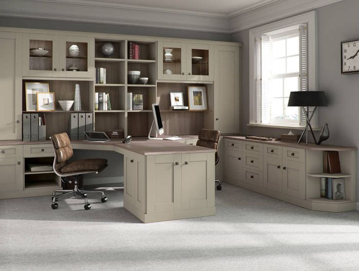 Verona fitted home office furniture with a Driftwood finish and Sage green fitted cabinets is a unique take on this year's colour trends.
