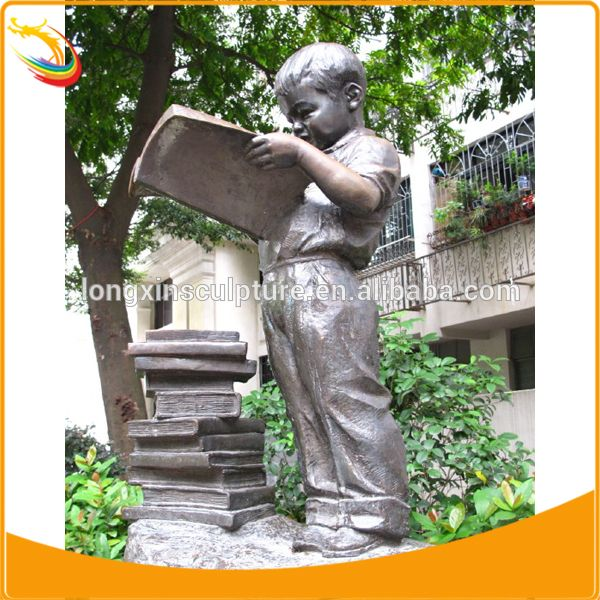 Children Playing Statue Bronze Boy And Dog Statue Large Metal ...