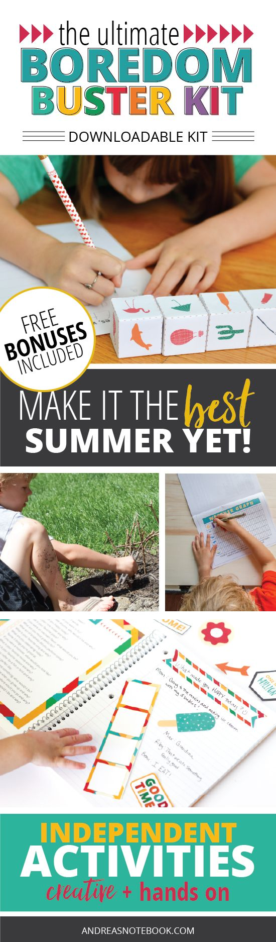 Make this summer great! Boredom Busters printables you can download and give to the kids to work on independently!