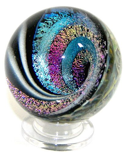 Cotton Candy Lampwork Vortex Marble Paperweight by jwinterbowerglassart, via Flickr
